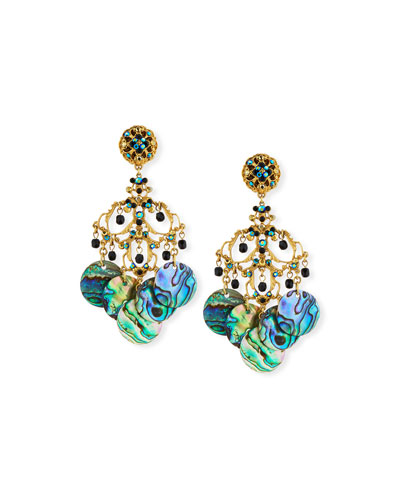 Abalone Disc Chandelier Clip-On Earrings