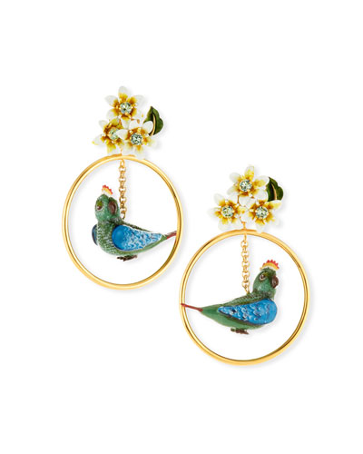 Crystal Bird-in-Hoop Statement Earrings