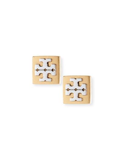 Block-T Logo Stud Earrings