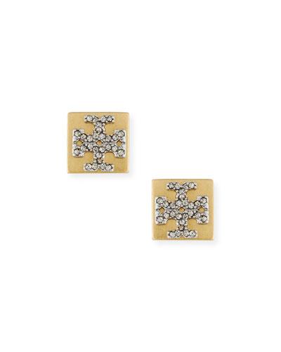 Block-T Crystal Stud Earrings