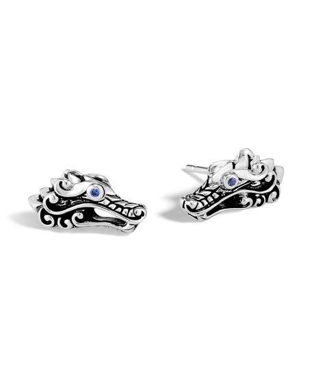 Sterling Silver Legends Naga Stud Earrings With Blue Sapphire