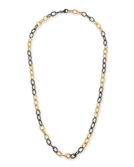 "MARGO MORRISON Two-Tone Chain-Link Necklace. 30""L in Gold"