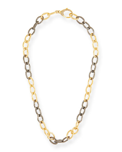 Two-Tone & Diamond Chain-Link Necklace, 18
