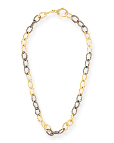 "MARGO MORRISON Two-Tone & Diamond Chain-Link Necklace, 18""L in Gold"