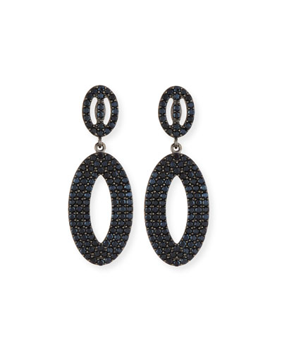 Black Spinel Loop Earrings