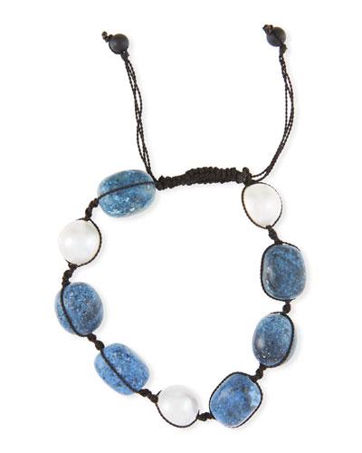 Adjustable Pearl & Dumortierite Bracelet