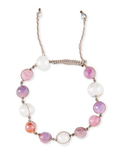 Adjustable Pearl & Raw Ruby Bracelet