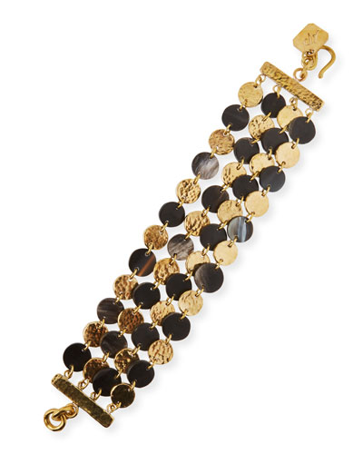Dark Horn & Bronze 4-Chain Bracelet