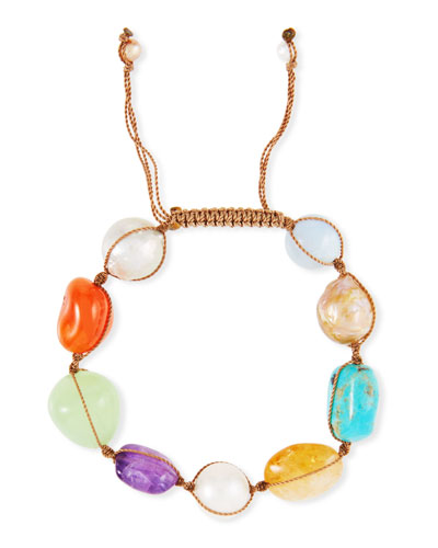 Multi-Stone & Pearl Adjustable Bracelet