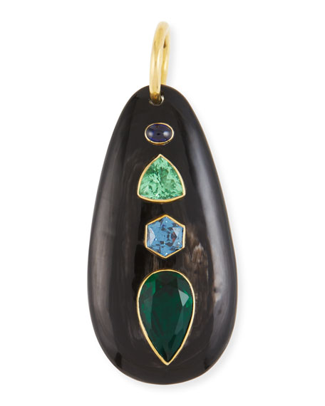 Ashley Pittman Dark Horn & Blue/Green Stone Pendant