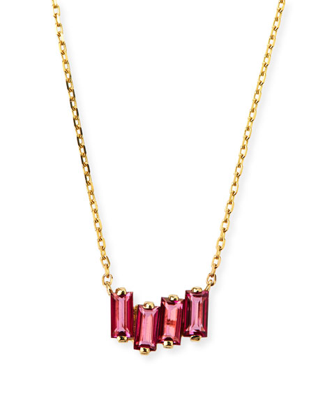 KALAN BY SUZANNE KALAN 14K Gold Pink Topaz Fireworks Necklace in Bright Pink