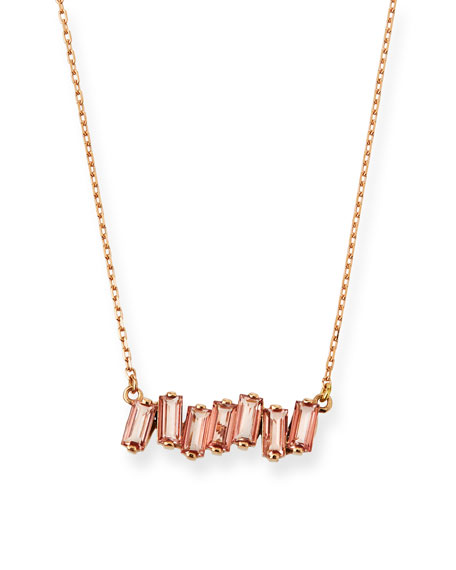 KALAN BY SUZANNE KALAN 14K Rose Gold Morganite Topaz Fireworks Necklace in Peach