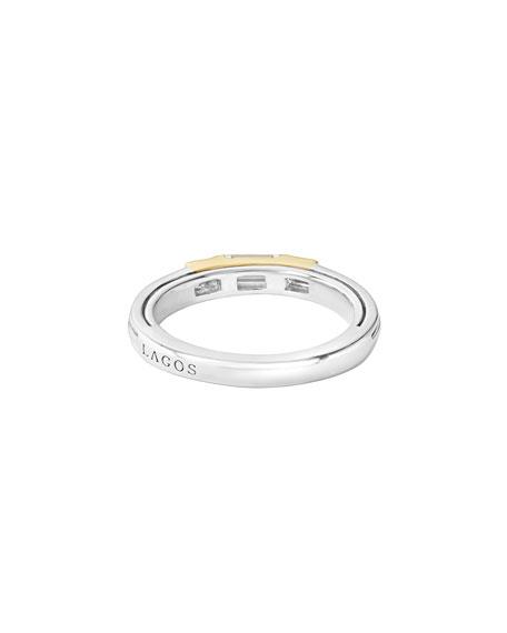 LAGOS Stacking Silver White Topaz Ring w/ Diamonds