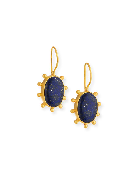 DINA MACKNEY Lapis Pinwheel Drop Earrings in Blue