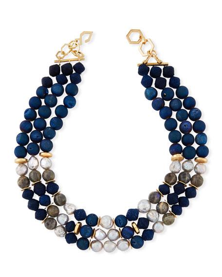 AKOLA Triple-Strand Chunky Bead Necklace in Blue