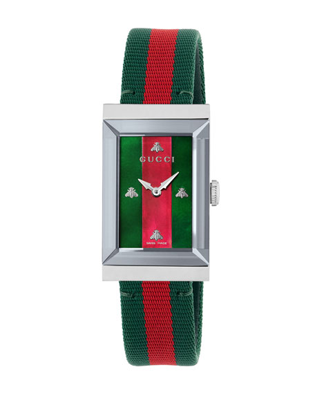 G-Frame Rectangular Striped Watch W/ Nylon Strap in Green
