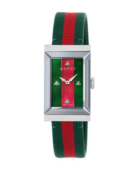 G-Frame Rectangular Striped Watch W/ Nylon Strap, Green/ Red/ Silver