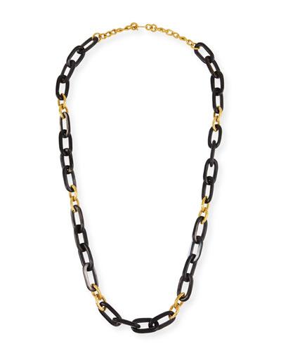 Dark Horn & Bronze Alternating Link Necklace, 38
