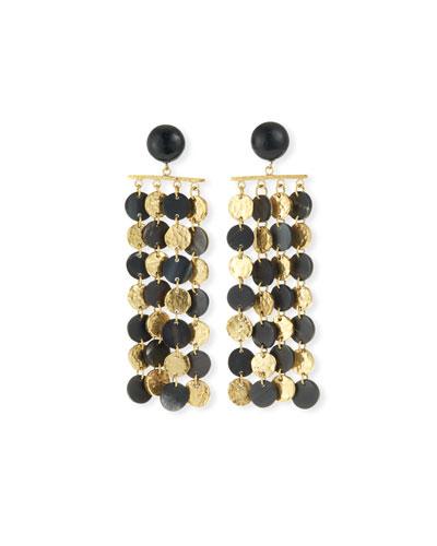Four-Chain Dark Horn & Bronze Drop Earrings