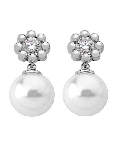 Cubic Zirconia Flower & Pearly Drop Earrings