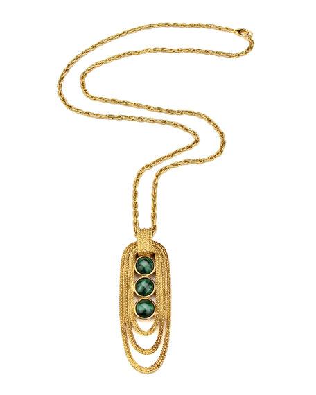 Triple-Malachite Pendant Necklace, Multicolor