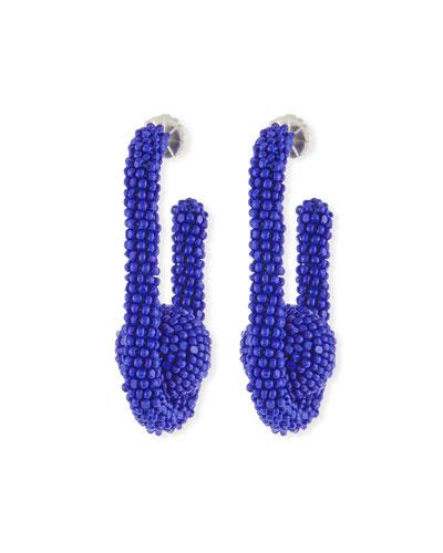 Seed Bead Mini Pinball Earrings, Blue
