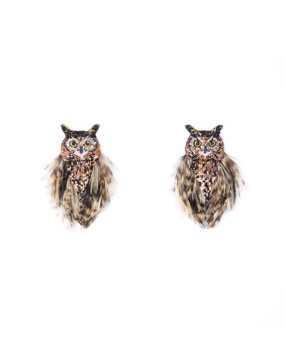 Owl Bead & Feather Earrings
