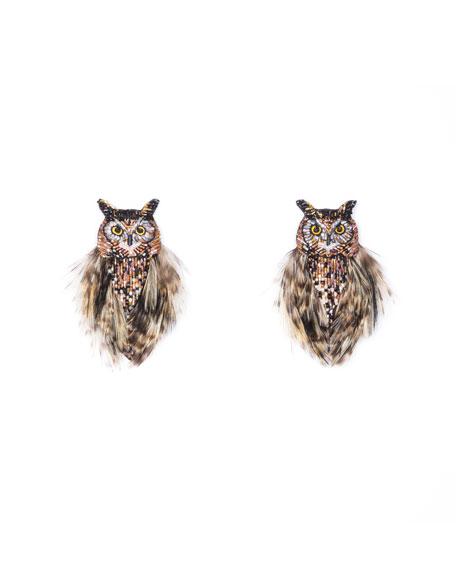 MIGNONNE GAVIGAN Owl Bead & Feather Earrings in Brown