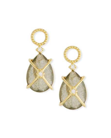 JUDE FRANCES 18K Gold Lisse Crisscross Labradorite Pear Earring Charms