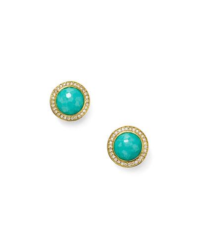 Lollipop 18k Gold Turquoise & Diamond Earrings