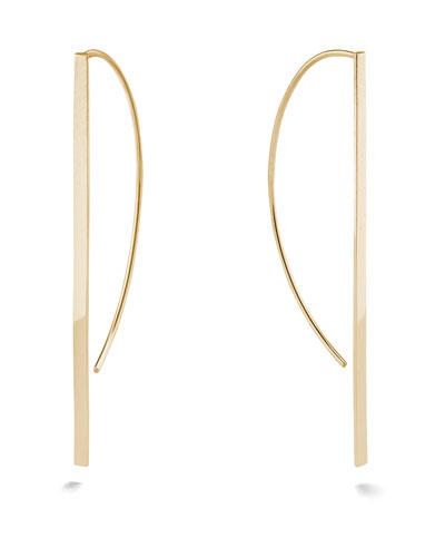 14k Gold Flat P-Hoop Earrings