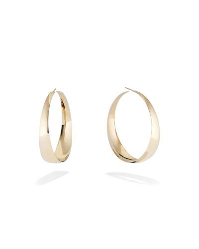 14k Gold Graduating Curve Hoop Earrings