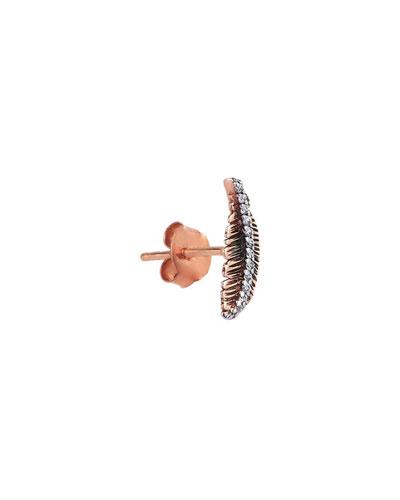 14k Rose Gold Diamond Feather Stud Earring (Single)