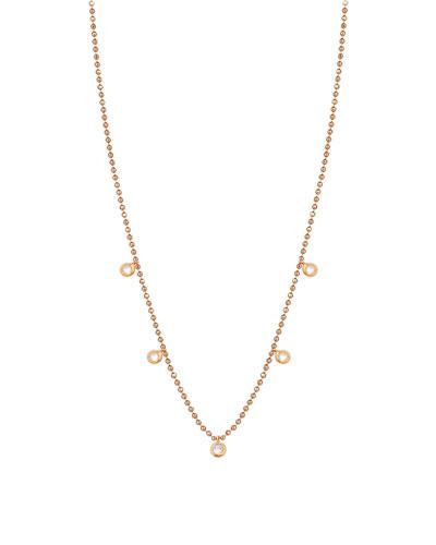 14k Rose Gold 5-Diamond Necklace