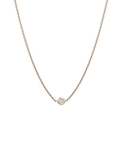 14k Rose Gold Solitaire Diamond Chain Choker