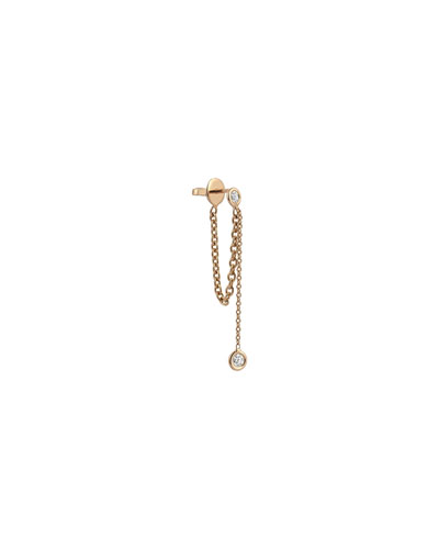 14k Rose Gold Sparkly Diamond Drop Chain Earring (Single)