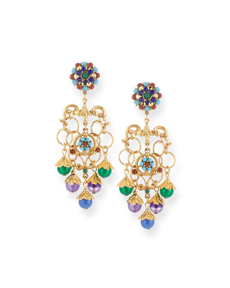 JOSE & MARIA BARRERA Multicolor Chain Clip-On Chandelier Earrings
