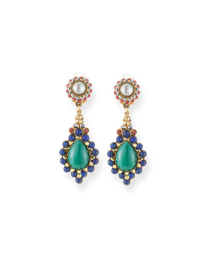 Pearl, Lapis & Malachite Teardrop Earrings