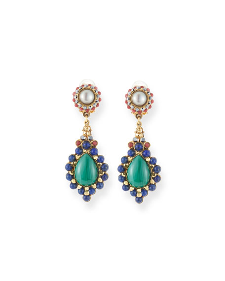 JOSE & MARIA BARRERA Pearl, Lapis & Malachite Teardrop Earrings in Multi