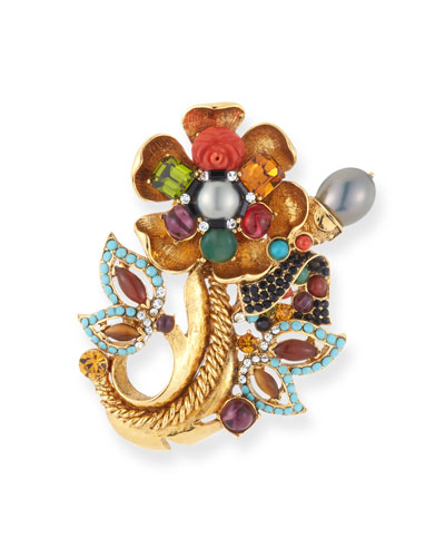 Multicolor Fall Flower Brooch