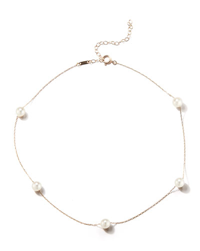 14k Gold Pearl Station Necklace