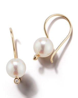 Mizuki Small Pearl & Diamond Drop Earrings