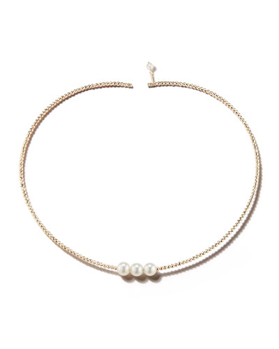 14k Gold Triple Pearl Choker Necklace
