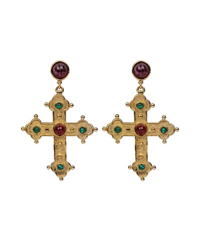 Multicolor Cross Dangle Earrings