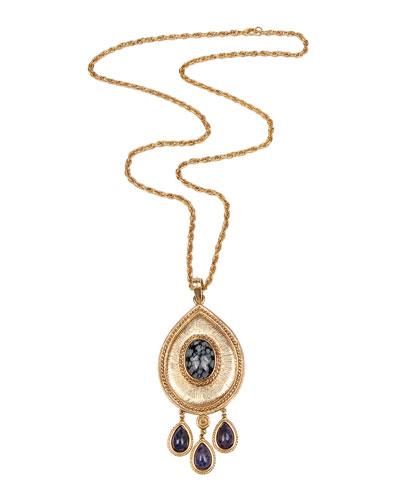 Triple Lapis Pendant Necklace