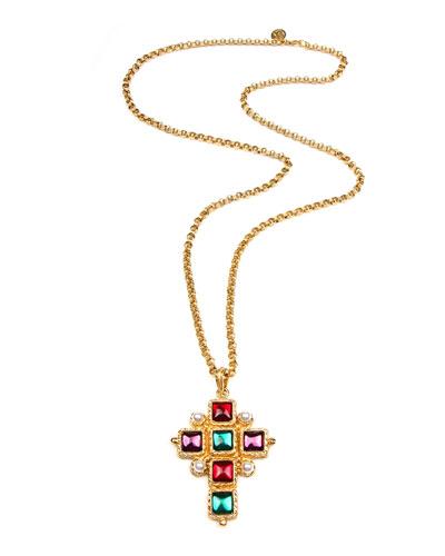 Cross Pendant Necklace w/ Square Stones