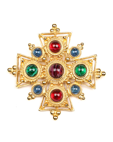 Multicolor Cross Brooch