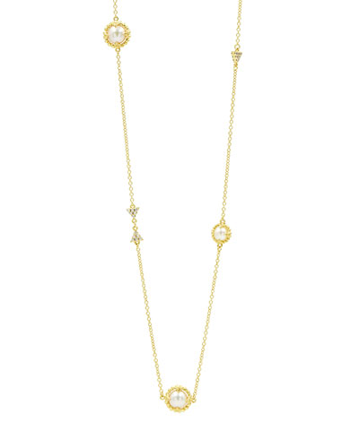 Textured Long Cubic Zirconia Station Necklace