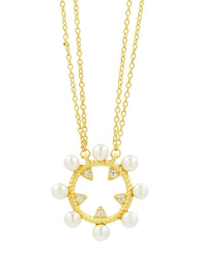 Textured Open Cubic Zirconia Pendant Necklace
