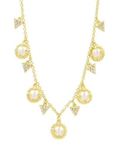 Textured Short Cubic Zirconia Dangle Necklace